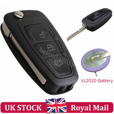Flip Remote Key Fob Case 3 Button +VL2020 Battery For Ford Transit Custom Mondeo