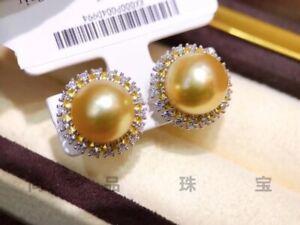 Gorgeous AAAAA 9-10mm south sea Golden stud pearl earring 925s