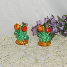 VINTAGE SALT & PEPPER SHAKERS TULIPS BUMBLE BEES HAND PAINTED CORK STOPPERS