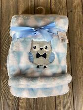 Nwt Baby Gear Blue Triangle Owl Fleece Baby Blanket Soft Lovey Plush