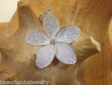 35mm Hawaiian 2-Tone Sterling Silver 14k Yellow Gold Sparkly Plumeria CZ Pendant