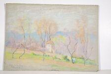 Dessin Pastel Marguerite DUBOIS ns XX° paysage Vallée de la Siagne Pêchers (06)