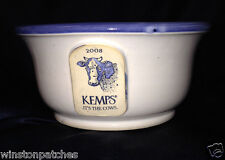"""GREY FOX POTTERY 2008 KEMPS ITS THE COWS CEREAL BOWL 5 3/4"""" BLUE & WHITE 20 OZ"""