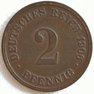 1906 D Germany Empire 2 Pfennig Copper Coin Extra Fine Circulated Wilhelm II