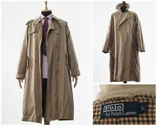 Vintage Mens POLO RALPH LAUREN Trench Coat Double Breasted Jacket Beige Size L