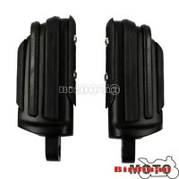 Black Rubber Slotted Rear Front Foot Pegs For Harley Dyna Fatboy Sportster CVO