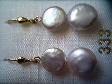 Perlenohrhänger Gold 333, Ohrhänger Gold 333 Zuchtperlen 11 mm flach lachsfarben