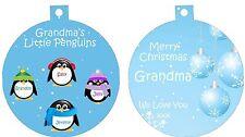 Personalized Ornament custom gift idea Christmas Grandma Grand mother Penguins