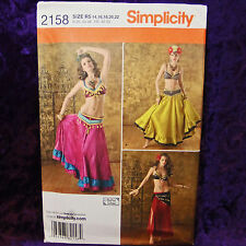 Simplicity 2158 3 Belly Dancer Costume Pattern sz 14-22 New uncut factory folded