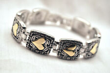 LADIES 7.75 IN. SILVER SQUARES & GOLD HEARTS MAGNETIC LINK BRACELET:  4 Pain!
