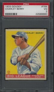 1933 Goudey Charley Berry #184 PSA 3 VG Chicago White Sox