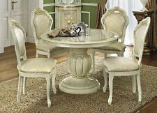 Leo Ivory Finish Italian Round Extension Dining Table with 4 Chairs