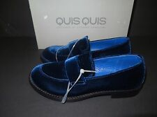 BNWT Beautiful Designer QUIS QUIS Girls Rich Blue Velvet Loafer Shoes 31 ITALY