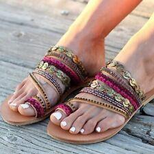 Beaded Rhinestones Flat Sandals Handmade Bohemian Women Summer Beach Footwear