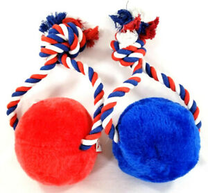 Americana Ball & Rope Toy Red & Blue Squeaker dog toys puppy Gift B57