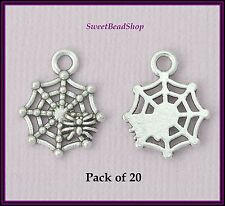 20 Antique Silver Colour 17 x 14mm Gothic Spider's Web Spider Charms - Halloween