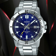 Casio MTP-VD01D-2EV Men's Blue Analog Watch Steel Band Date Indicator New