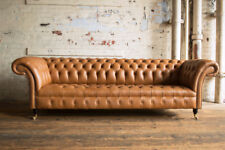 HANDMADE 3 SEATER VINTAGE TAN LEATHER CHESTERFIELD SOFA