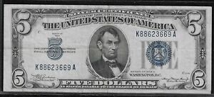 1934-A $5 Small Silver Certificate *Free S/H After 1st Item*