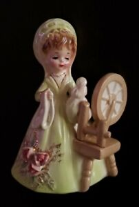 Josef Originals - Girl And Spinning Wheel From The American Colonial Days Series