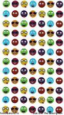 SMILEY FACES Sticko Mini Metallic Stickers - Happy Funny Faces 84 stickers
