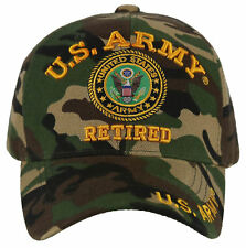 NEW! US ARMY RETIRED ROUND BALL CAP HAT GREEN CAMO
