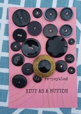"""Card of 20 Assorted Antique and Modern Black """"Kuit As A Button"""" Buttons"""