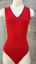 NWT $325 DONNA KARAN NY USA sz S bodysuit Neiman Marcus v-neck red snap buttons