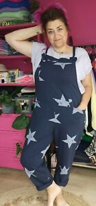 RESTOCKED NAVY STAR PRINT Jersey Cotton Slouchy Crop Dungaree O/size 10-18 Italy