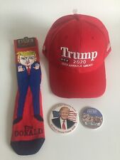 2020 President Donald Trump Gift Set Baseball Hat Made in the USA Socks Buttons