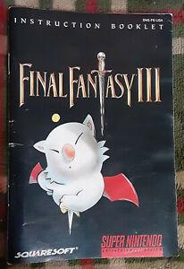 Official vintage SquareSoft Final Fantasy III instruction manual booklet 3 SNES