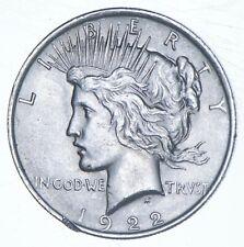 Choice AU/UNC 1922 Peace Silver Dollar - 90% Silver *845