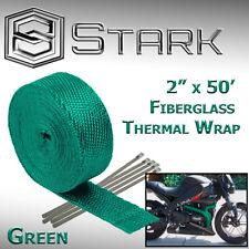 "2"" x 50FT Exhaust Header Fiberglass Heat Wrap Tape w/ 5 Steel Ties - Green (VW)"