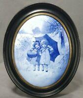 Antique SIGNED Royal Doulton Blue Children Series Oval Plaque James Boulton 1895