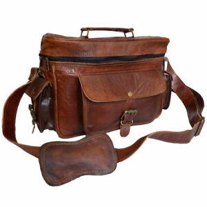 Real Vintage Genuine Brown Goat Leather Cross Body Shoulder Handmade Camera Bag