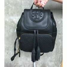 TORY BURCH FLEMING LEATHER BACKPACK BLACK