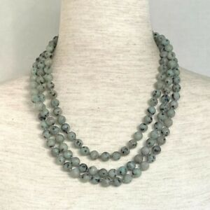 """Knotted Matte Serpentine Stone 8.5mm infinity Necklace Boho Essential Oil 60"""""""