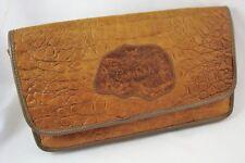 1980's CARLOS FALCHI Faux Alligator Brown Leather Shoulder X-Body Clutch Bag