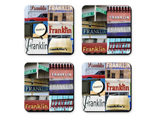 Personalized Coasters featuring the name FRANKLIN in photos of signs - Set of 4