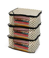 Non Woven Saree Cover/Cloth Bag/Wardrobe Organiser Set Of 200 Pc Beige Polka Dot