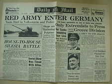 DAILY MAIL WWII NEWSPAPER JANUARY 19th 1945 RUSSIAN RED ARMY ENTER GERMANY