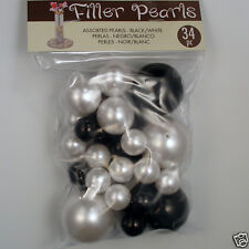Mixed Black / White Acrylic Pearl Style Beads Vase Filler, Centerpiece, plastic