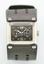NIKE SLEDGE WC0064 Watch Mens Stainless Silver Leather Black 50m Day Date Quartz