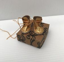 Blythe Doll Boots - Handmade Gold Coloured REAL Leather boots With Shoebox