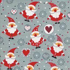 4 x Single Paper Napkins/3 Ply/Decoupage/Craft/Christmas/Santa/Funny Santas