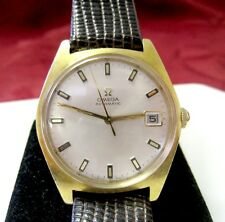 VINTAGE OMEGA AUTOMATIC MEN'S GOLD ELECTROPLATE DATE WATCH RUNS GREAT