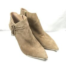 DKNY Suede Ankle Boots PELIA Taupe w/Gold Tone Trim Size 6.5