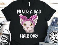 Sphynx Cat Never A Bad Hair Day Gildan Shirt Graphic Tee Unisex T-Shirt 2969