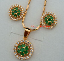 TOP CLASS NATURAL GREEN EMERALD&White CZ ROUND NECKLACE & EARRINGS Gold SET