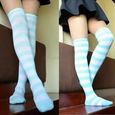 Lady Girls Sexy Thigh High Striped Over the Knee Cotton Long Socks New